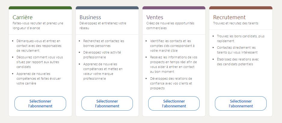 LinkedIn possède 4 offres payantes aux avantages différents