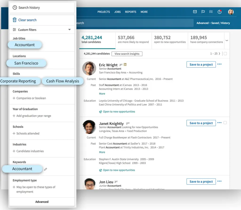 Filtres de recherche LinkedIn Recruiter _ Start&Lead