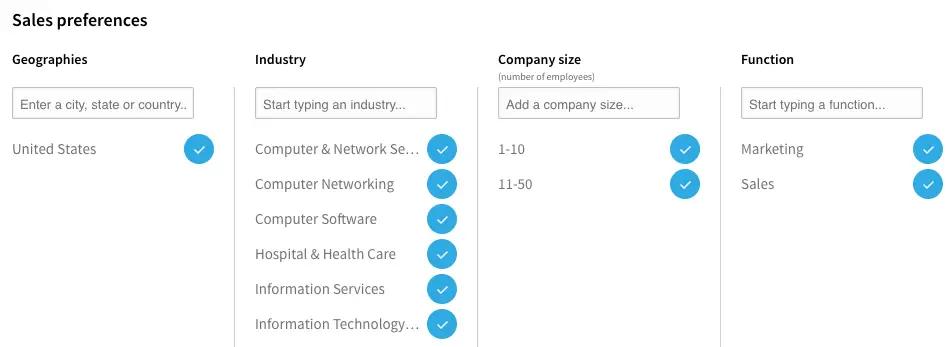 Filtres de recherches Sales Navigator_LinkedIn