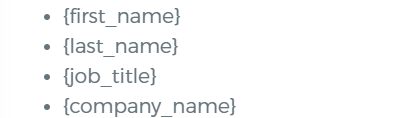 Exemples de placholders pour la personnalisation un texte.